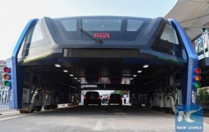The Bus that runs above the car arrives in China